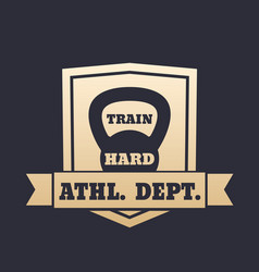 athletic department gold emblem with kettlebell vector image vector image
