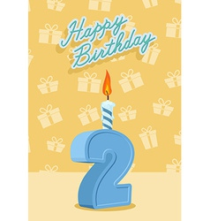 Birthday candle number 2 with flame vector image