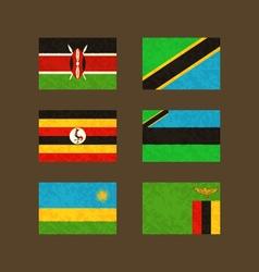 Flags of Kenya Tanzania Uganda Zanzibar Rwanda vector image