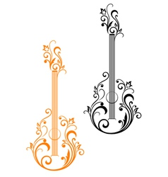 Guitar with floral embellishments vector