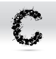 Letter C formed by inkblots vector image vector image