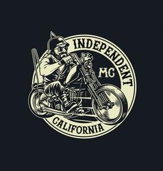 Biker gang member riding motorcycle vector