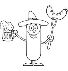 Happy Mexican Sausage Cartoon vector image vector image