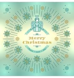 Merry Christmas greeting card Angel Xmas vector image