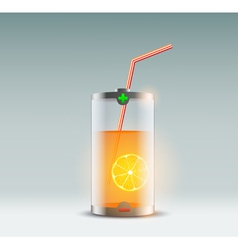 orange juice in a glass in the form of a battery vector image vector image