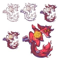 Set of a fire fox vector image