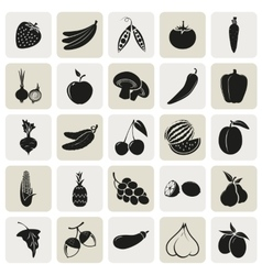 vegetarian delicious food 25 simple icons set vector image