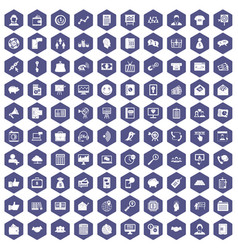 100 viral marketing icons hexagon purple vector