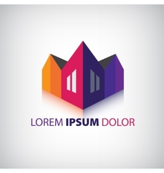 3d houses icon logo isolated vector