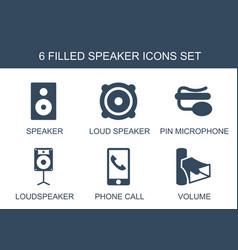 6 speaker icons vector image