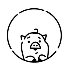 a little pig linear style pig in a circle logo vector image