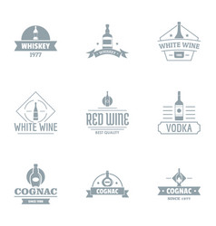 alcoholic beverage logo set simple style vector image