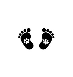 animal pawprints inside of baby footprints vector image