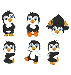 Baby penguins cartoon set character vector
