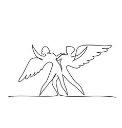 ballet dancers with wings in motion one line vector image