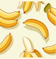 bananas and banana peel pattern design vector image