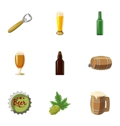 Beer festival icons set cartoon style vector