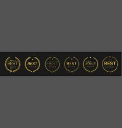 Best actress golden laurel wreath label set vector