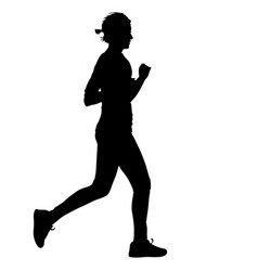 black silhouettes runners sprint women on white vector image