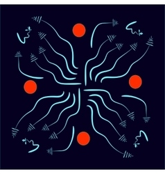 blue lines and red balls vector image