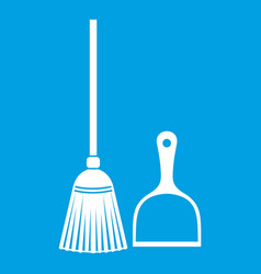 Broom and dustpan icon white vector