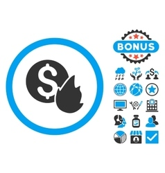 Burn Money Flat Icon with Bonus vector image