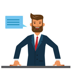 Business man entrepreneur close up cartoon flat vector