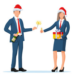 business people in christmas hats on holiday vector image