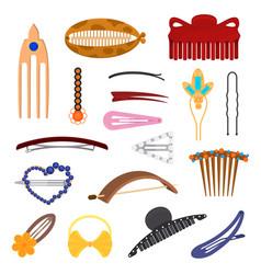 Cartoon color hair accessory icon set vector