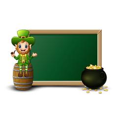 Cartoon leprechaun sitting above barrel with chalk vector