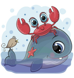cartoon whale with crab and bird vector image