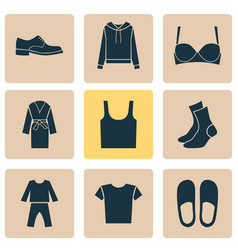 Clothes icons set with pullover casual half-hose vector