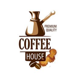 coffee logo on white vector image