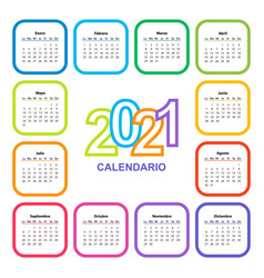 Color calendar on 2021 year with a square shape vector