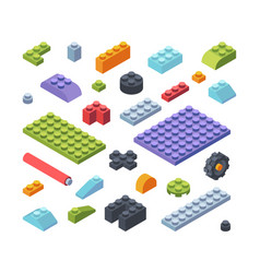 constructor kids isometric parts large set tiles vector image