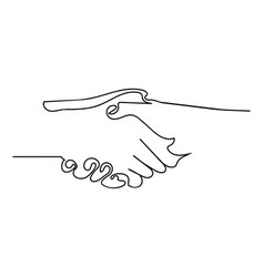 continuous line drawing shaking hand agreement vector image