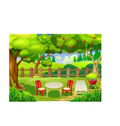 Cool yard with table chair and trees cartoon vector