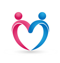 couple people figure forming heart logo vector image