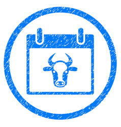 Cow calendar page rounded grainy icon vector