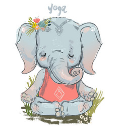 cute elephant makes yoga vector image