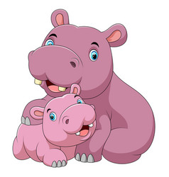 Cute hippo mother with baby hippo vector
