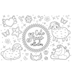 cute little sheep set coloring book page for kids vector image