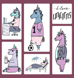 cute set of 5 hand-drawn unicorns vector image