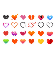 different style heart symbols collection elements vector image