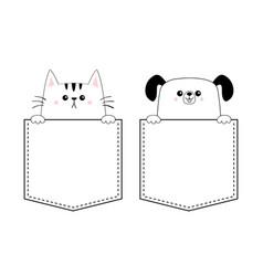 dog cat kitten puppy set in pocket holding vector image