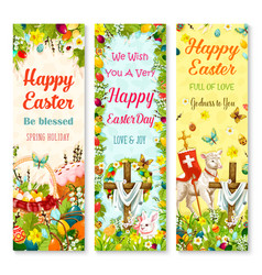 easter holiday symbols greeting banner set design vector image