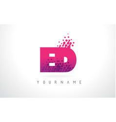 Ed e d letter logo with pink purple color and vector