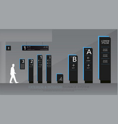 Exterior and interior signage directional pole vector