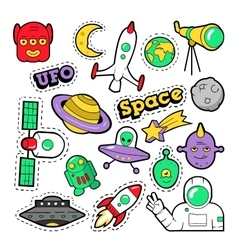 Fashion Badges Patches Stickers Space UFO vector
