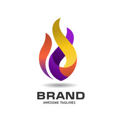 fire flame colorful logo vector image